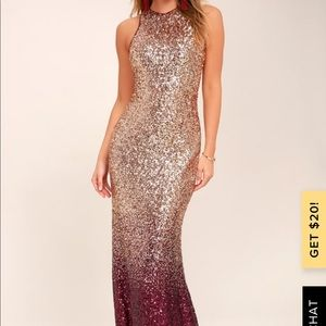 Lulu's Dresses - NWT Lulu's Ombré Sequin Maxi dress